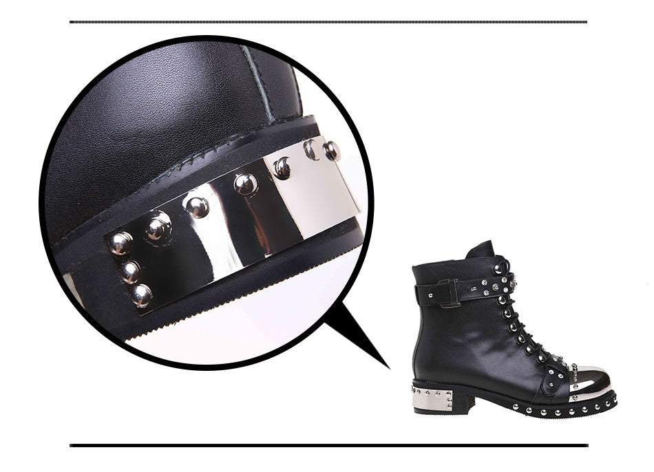Genuine Leather Punk Rock Boots / Women Square Heels Ankle Shoes with Rivets / Biker Boots - HARD'N'HEAVY