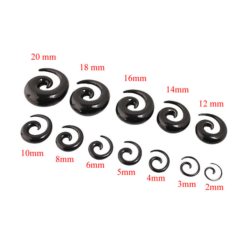 Acrylic Spiral Taper Flesh Tunnel Ear Stretcher / Expander Stretching Plug Snail - HARD'N'HEAVY