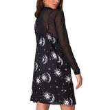 Aesthetic Vintage Black Gothic Dress / Rock Style V-Neck Clothes with Straps and Moon Print - HARD'N'HEAVY