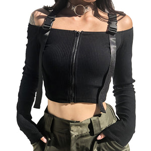 Alternative Backless Patchwork Zipper Top / Girl's Slash Neck High Street Women's Slim Tops - HARD'N'HEAVY