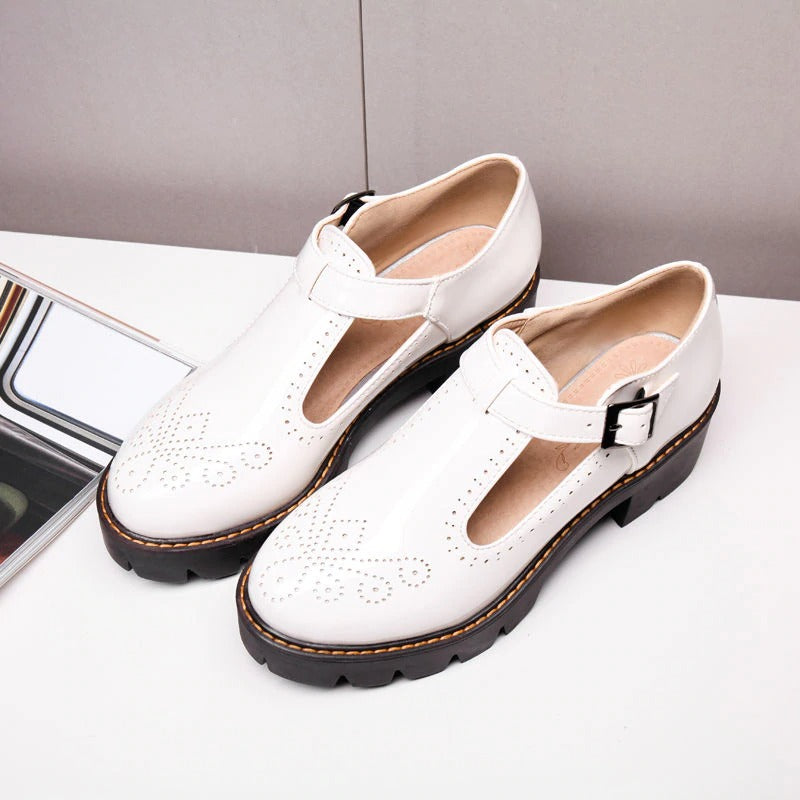 Alternative Fashion Brogue Round Toe Flats with Buckle Strap / Aesthetic Shoes for Women - HARD'N'HEAVY