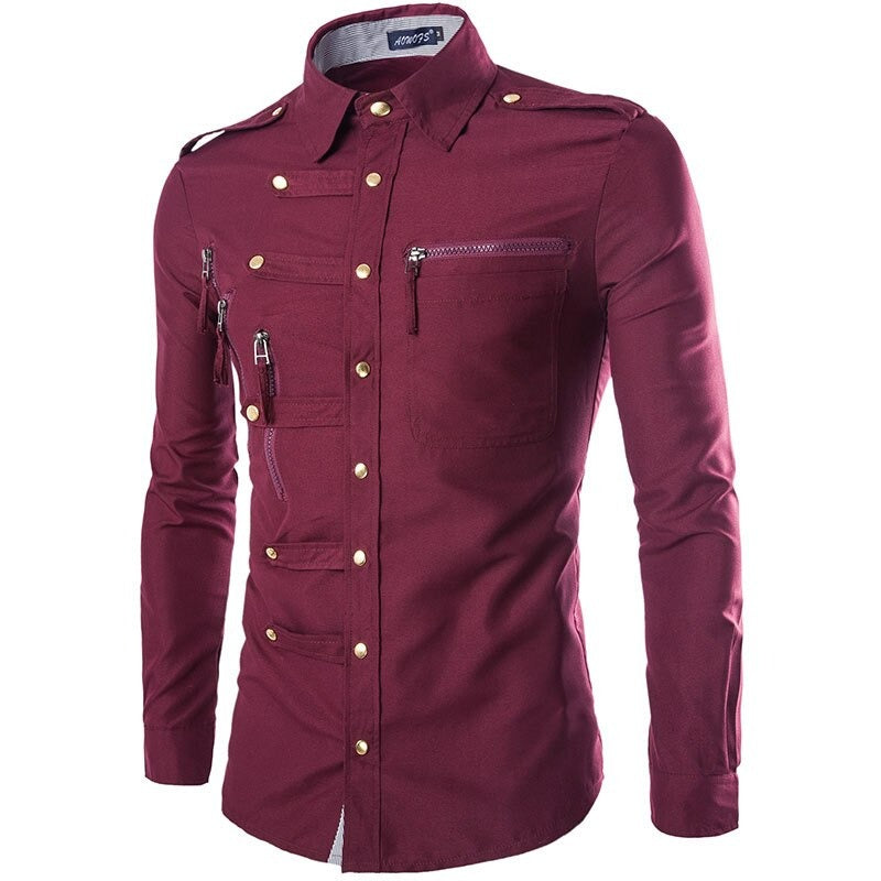 Alternative Fashion Clothes / Stylish Design Mens Slim Fit Cotton Dress Shirt with Long Sleeve - HARD'N'HEAVY