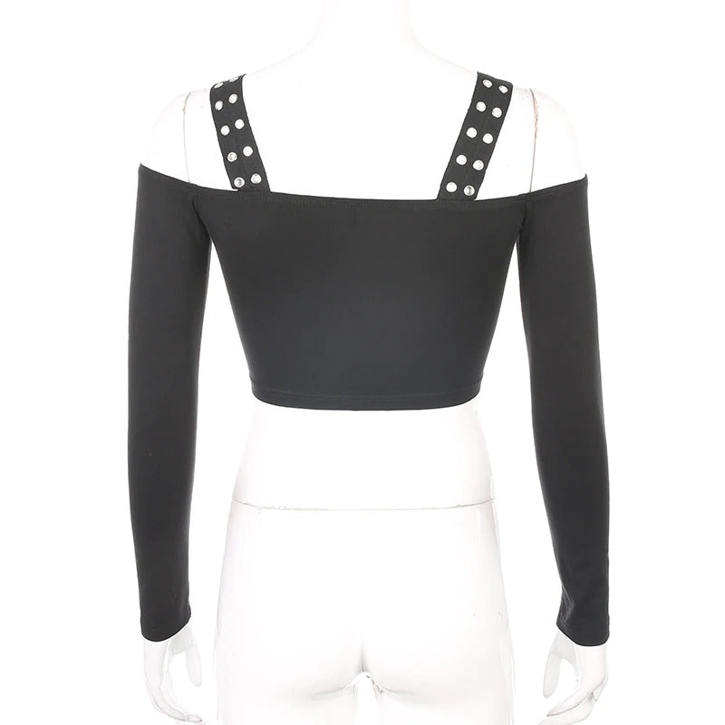 Alternative Fashion Off Shoulder Crop Top for Ladies / Backless Black Women Tops with Straps - HARD'N'HEAVY