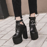 Alternative Fashion Platform Boots for Women / Soft Leather Ankle High Heels Boots - HARD'N'HEAVY