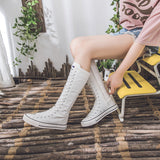 Alternative Fashion Women Canvas Shoes with High Top / Knee High Boots in Grunge Style - HARD'N'HEAVY