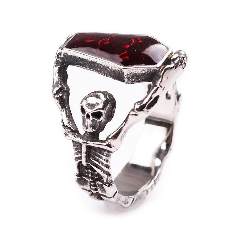 Alternative Gothic Skeleton Ring For Women and Men / Red Rhinestone Jewelry - HARD'N'HEAVY