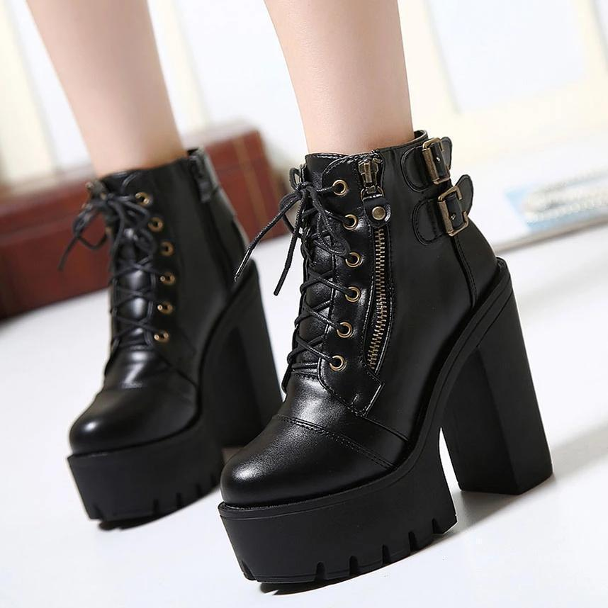 Alternative Black Ankle Boots / Platform Goth Boots for Women / Zipper High Heels Shoes - HARD'N'HEAVY