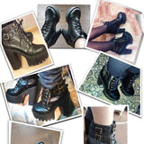 Alternative Shoes Black Platform Goth Boots Women Zipper High Heels Punk Shoes Lace Up Ankle Boots - HARD'N'HEAVY