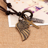 Antique Vintage Angel Wing Leather Necklace / Charms Pendants Jewelry - HARD'N'HEAVY