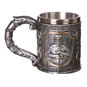 Armor Warrior Resin and Stainless Steel Beer 450ml Mug / Retro Viking Pub Bar Mug with Knight
