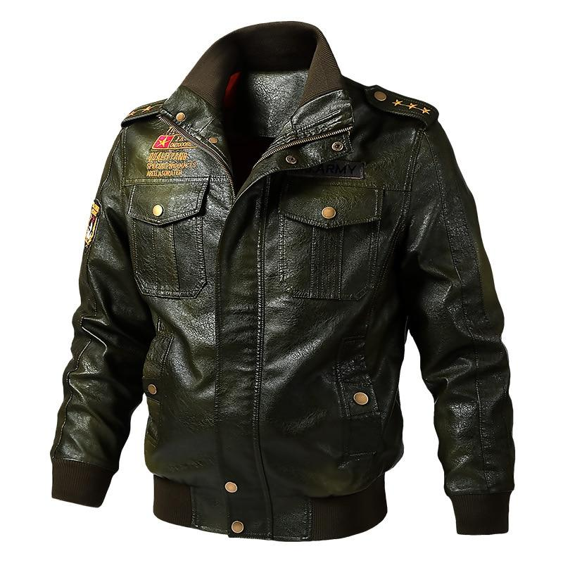 Army Leather Jacket / Military Outerwear Zipper PU Bomber / Stand Collar Biker Jacket - HARD'N'HEAVY
