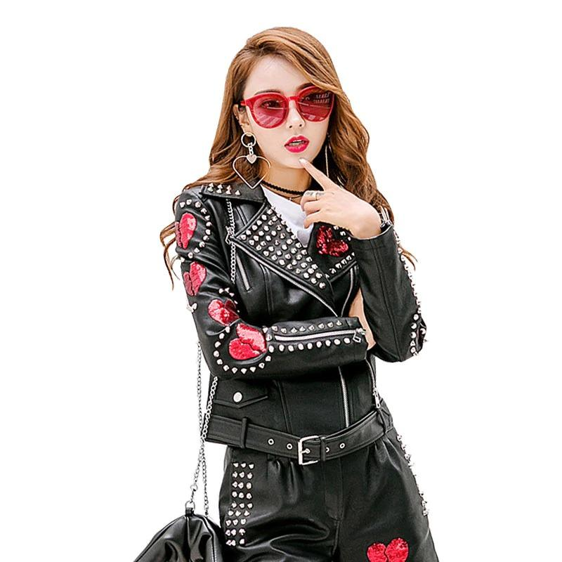 Autumn Punk Leather Jackets for Women with Hearts / Spikes Riveted Motorcycle Patch Design Jackets - HARD'N'HEAVY