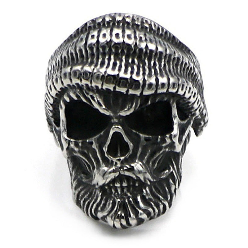 Bearded Skull Ring / 925 Sterling Silver Adjustable Rings / Gothic Vintage Punk Rock Biker Jewelry - HARD'N'HEAVY