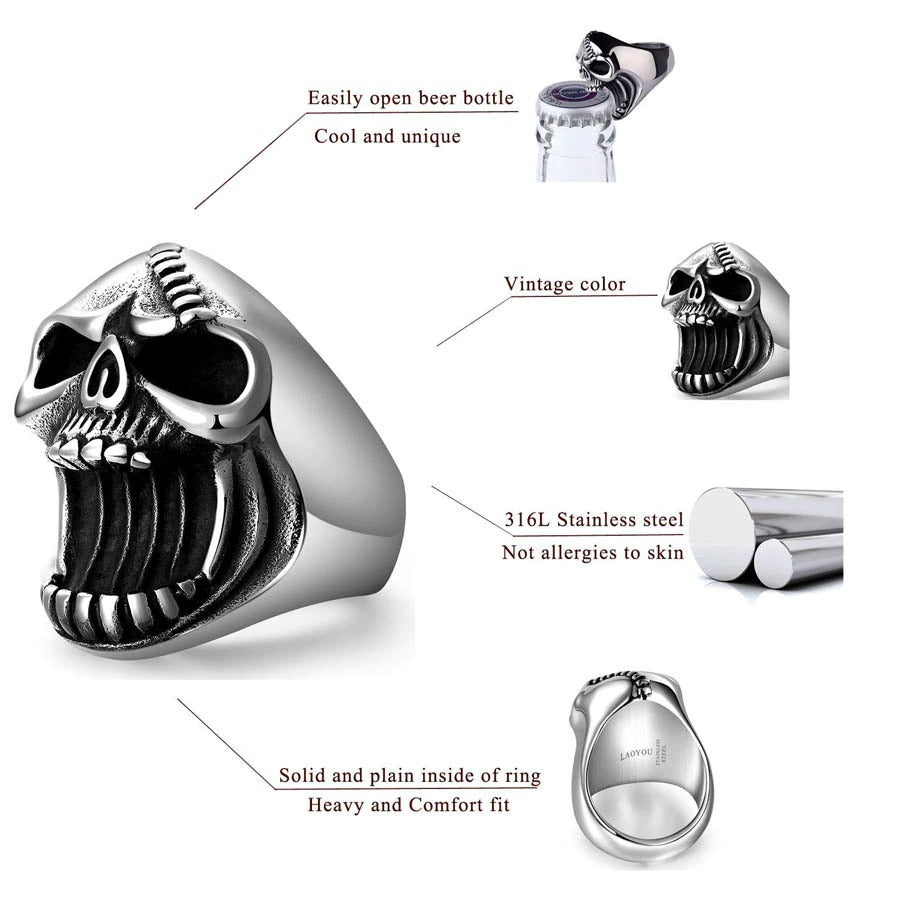 Beer Bottle Opener Skull Ring / Gothic Punk Fashion Jewelry / Vintage Scar Jaw Unique Ring - HARD'N'HEAVY