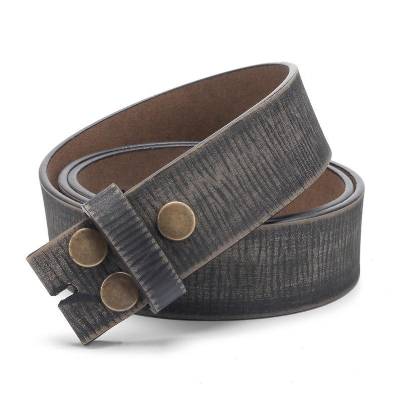 Belt Without Buckle For Men Genuine Leather Belt For Jeans 3.8 CM Width Cowskin One Layer Strap - HARD'N'HEAVY