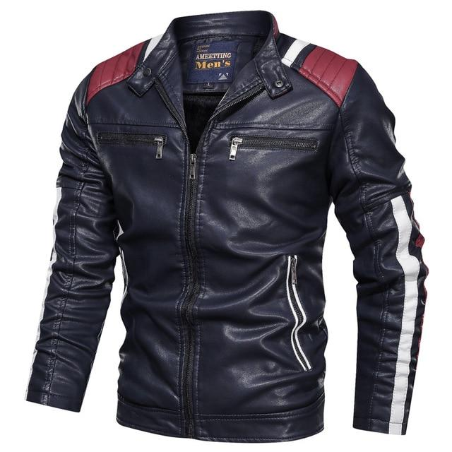 Biker Leather Jacket / Alternative Fashion Stand Collar / Faux Leather Jacket - HARD'N'HEAVY
