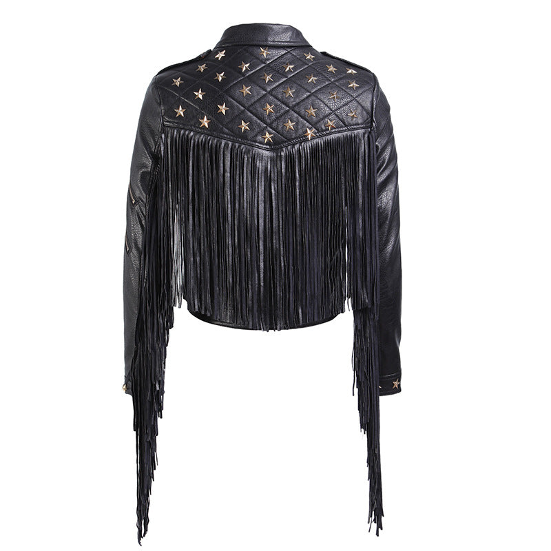 Biker Leather Jacket Tassels for Women / Female PU Leather Short Fold-down Collar Jacket Zipper - HARD'N'HEAVY