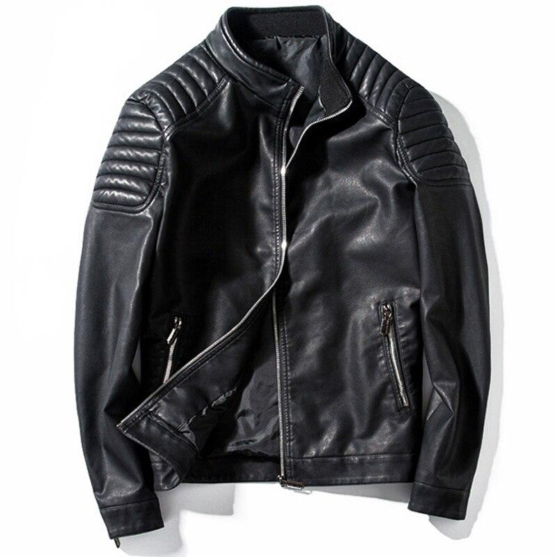 Biker PU Leather Jacket / Rock Style Motorcycle Outerwear Warm / Thick Mens Leather Jackets
