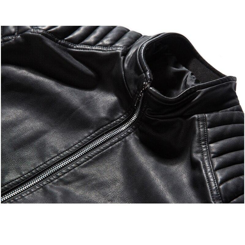 Biker PU Leather Jacket / Rock Style Motorcycle Outerwear Warm / Thick Mens Leather Jackets - HARD'N'HEAVY