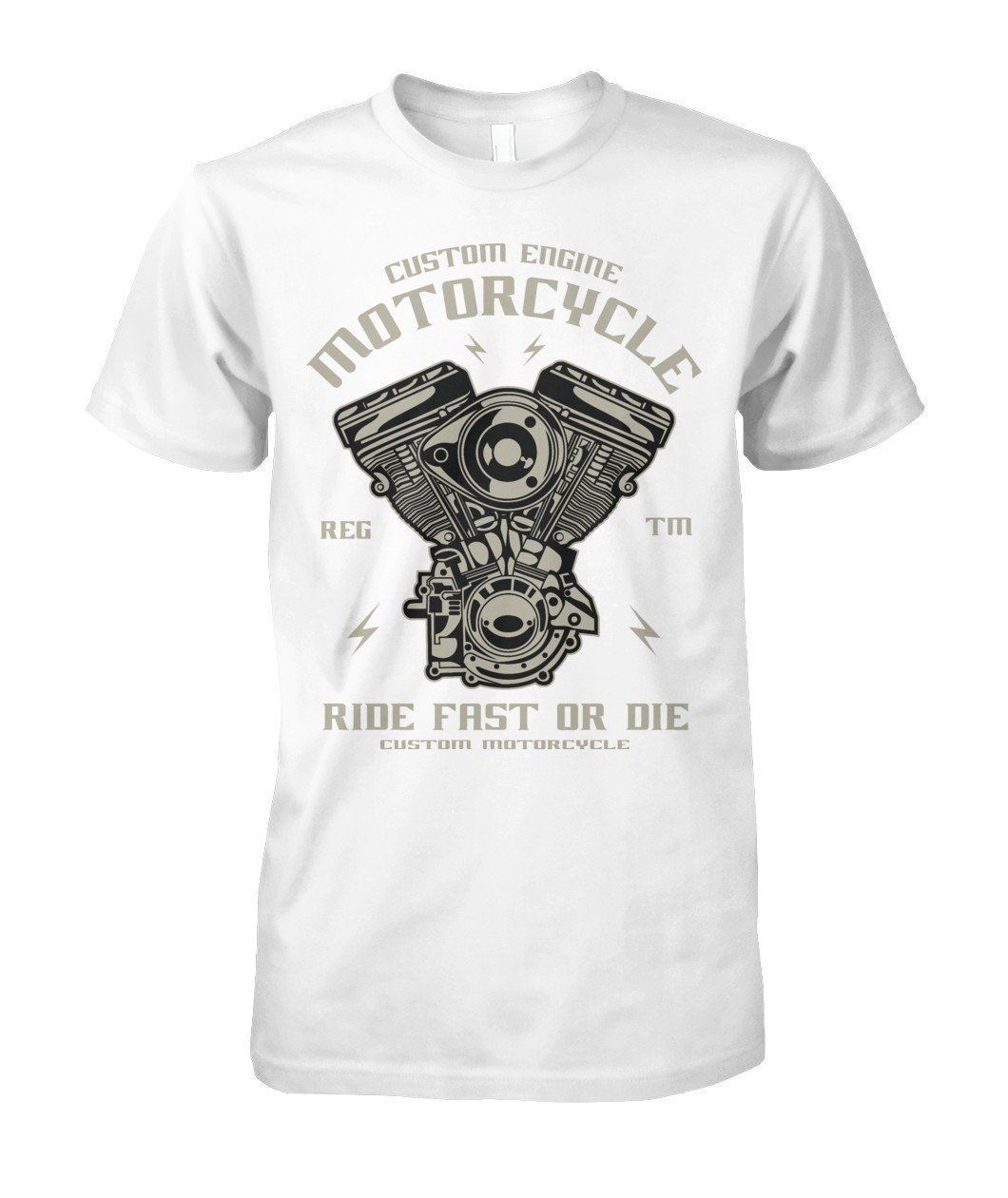 Biker T-shirt with Engine Print / Short Sleeve vintage tees / Rock t shirts - HARD'N'HEAVY