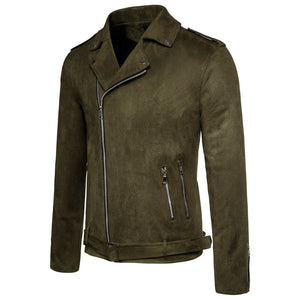 Black and Green Motorcycle Suede Zipper Jacket for Men / Male Jacket and Coat of Slim Outwear
