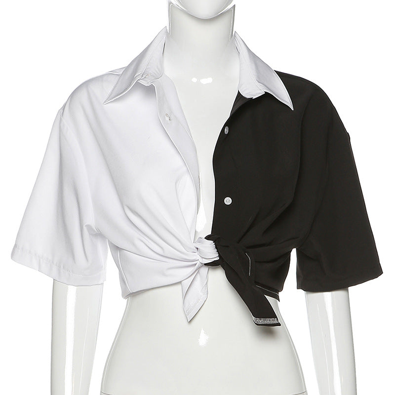 Black and White Women's Tops with Short Sleeves / Alternative Fashion Outfits - HARD'N'HEAVY