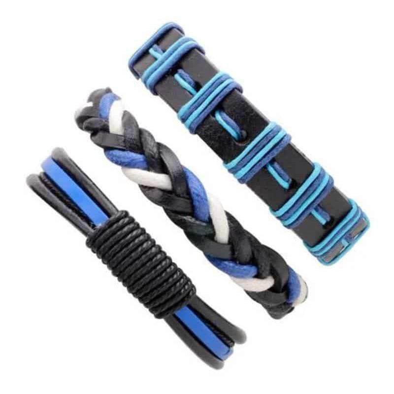 Black & Blue Leather Bracelet in Rock Style & Braided Rope Wristband Set of 3 PCs - HARD'N'HEAVY
