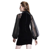 Black Chinese Original Design / Velvet Goth Dress Lantern Sleeve Mesh Stitching - HARD'N'HEAVY
