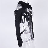 Black Cold Shoulder Hooded Top with Straps / Women Gothic Sexy Long Sleeve Crop Tops / Rave Outfits - HARD'N'HEAVY