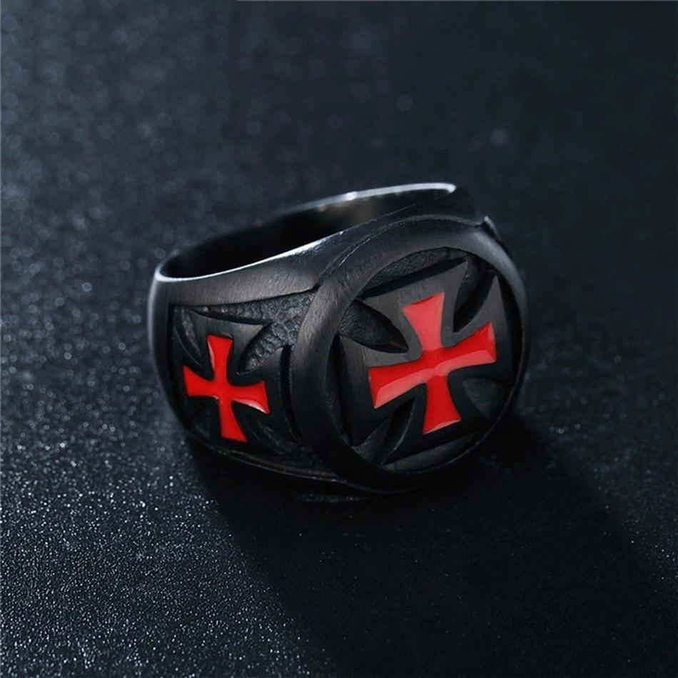 Black Color Red Iron Cross Biker Style Alternative Fashion 316L Stainless Steel Ring - HARD'N'HEAVY
