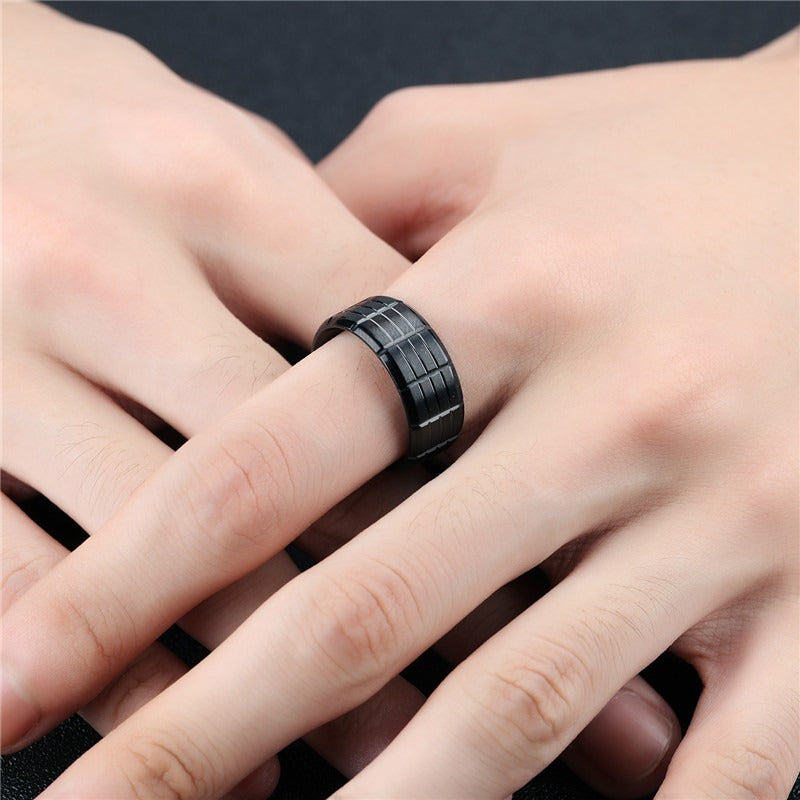 Black Color Stainless Steel Ring / Cool rings for Rocker / Alternative Fashion Jewelry - HARD'N'HEAVY