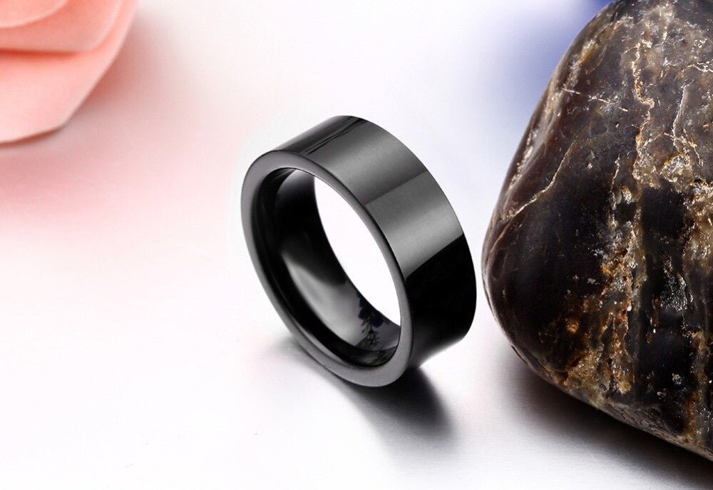 Black Comfort Fit Tungsten Carbide Ring / Unisex Flat Ring / Womens & Mens rings in Rock Style - HARD'N'HEAVY