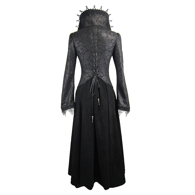 Black Embossed Long Coat in Gothic Style / Sexy High Collar Long Top / Alternative Fashion Outwear - HARD'N'HEAVY