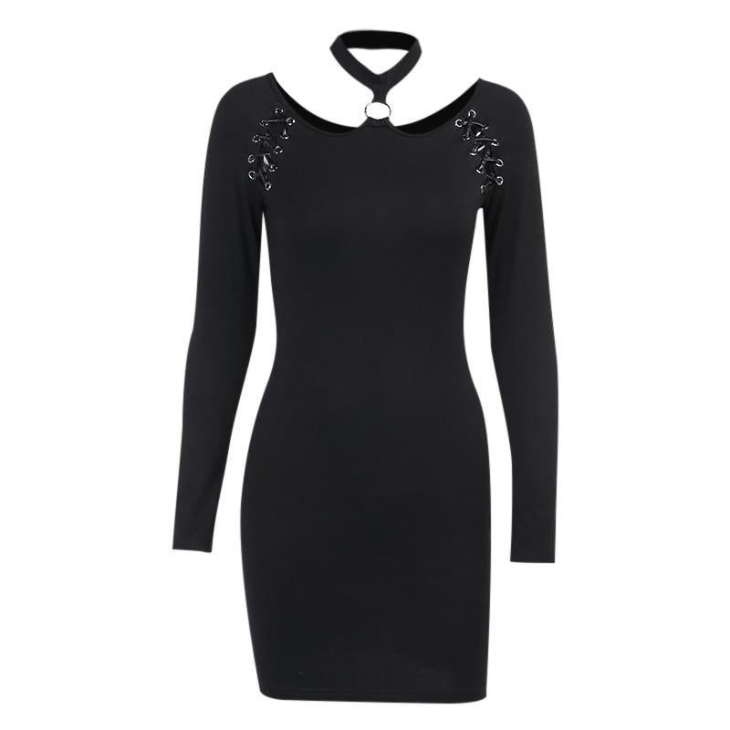 Black Halter Gothic Mini Dress / Women's Hollow Out and Long Sleeve Female Dress - HARD'N'HEAVY