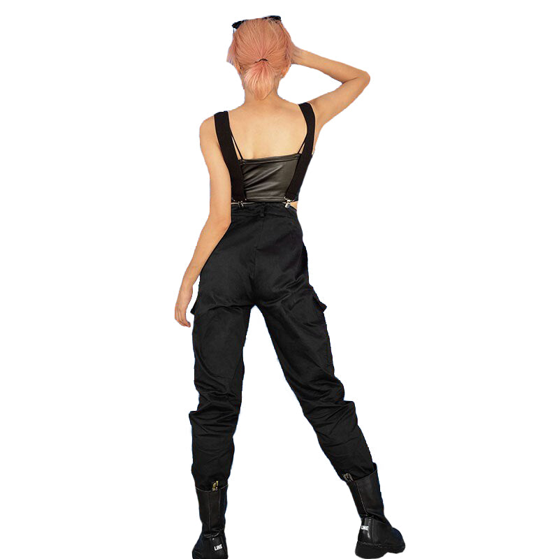 Black High Waist Adjustable Straps Cargo Pants / Women's Fashion Pencil Trousers - HARD'N'HEAVY