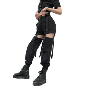 Black High Waist Cargo Pants / Women Joggers Street Style Trousers / Buckle Track Pants