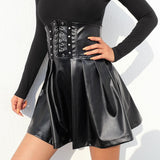 Black High Waist Pleated Gothic Skirts / Women Alternative Fashion Outfit - HARD'N'HEAVY
