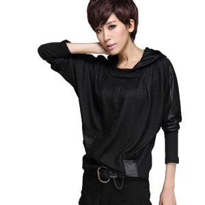 Black Hoodie Pullover / Full Of Character Black Leather-spliced Tops For Women