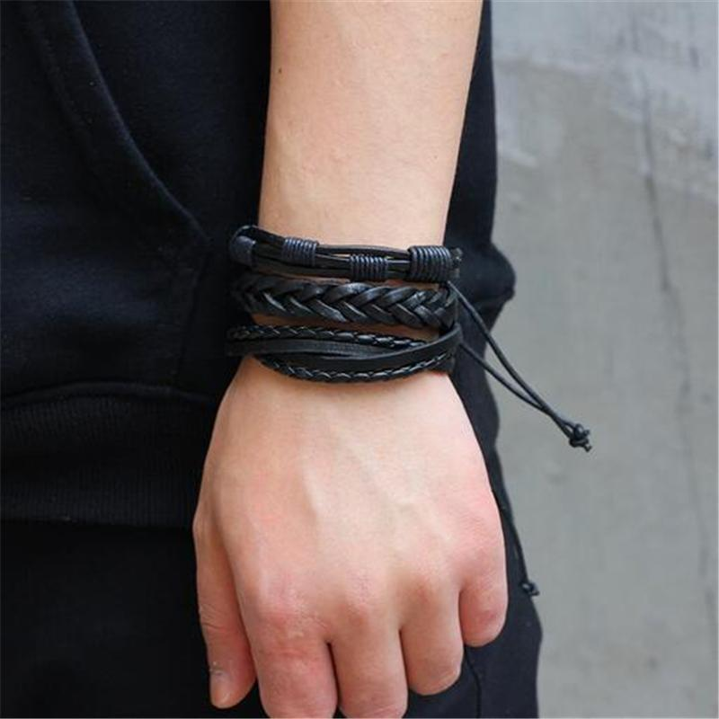 Black Leather Bracelet in Rock Style & Braided Rope Wristband Set of 6 PCs - HARD'N'HEAVY