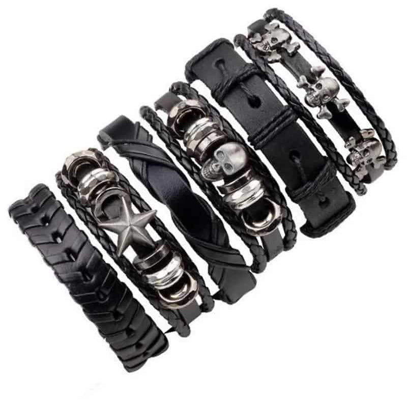 Black Leather Bracelet in Rock Style with Skull & Star Wristband Set of 6 PCs - HARD'N'HEAVY