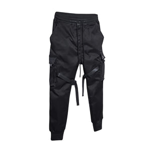 Black Men's Cargo Pants With Ribbons / Print-Pocket Joggers / Men's Cotton Streetwear