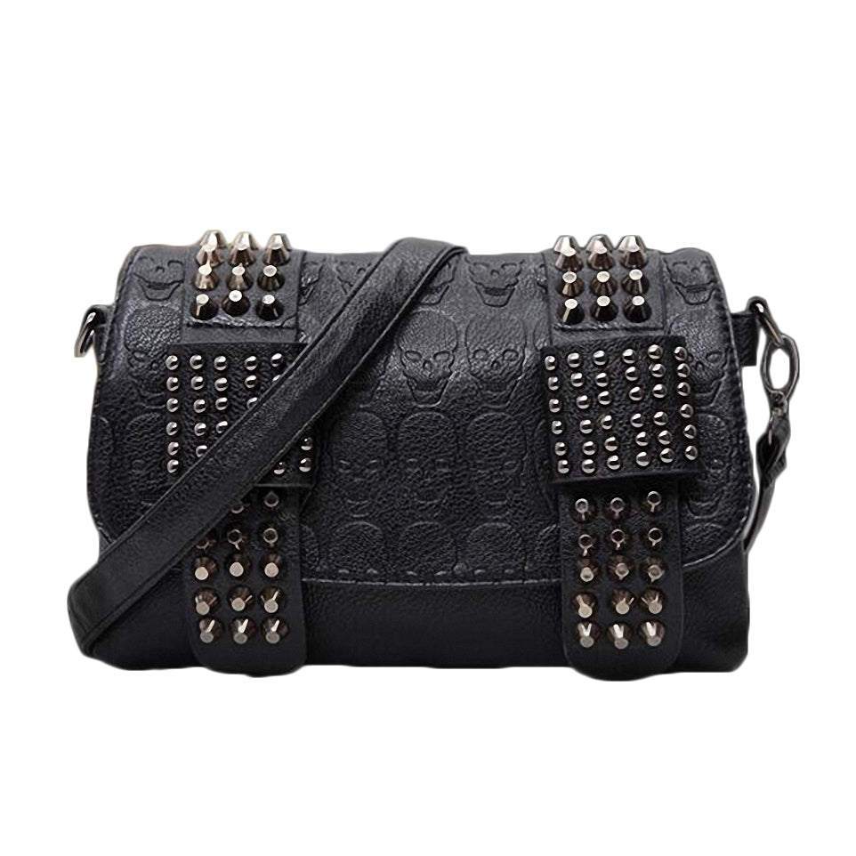 Black Messenger Bags with Skulls & Rivets / Alternative womens clothing - HARD'N'HEAVY