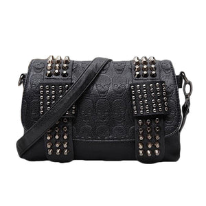 Black Messenger Bags with Skulls & Rivets / Alternative womens clothing