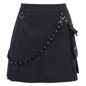 Black Mini Skirt With Strap And Pocket / Sexy High Waist Gothic Skirt / Summer Women's Streetwear