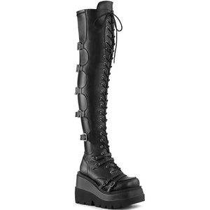 Black Over The Knee Platform Thigh Combat Boots / Gothic Fashion Buckle High Heels Womens Boots