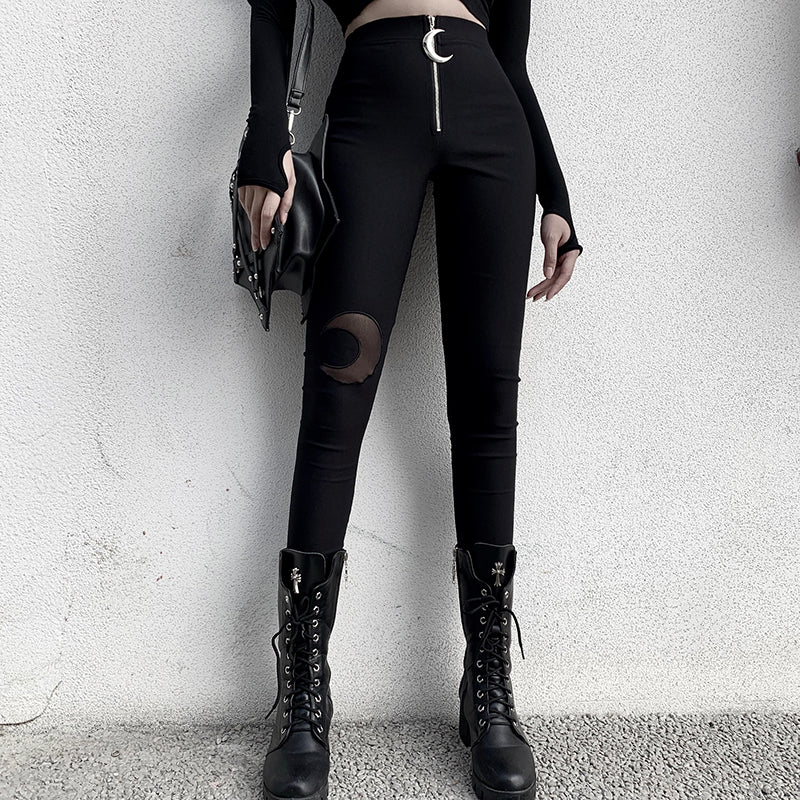 Black Pencil High Waist Pants in Vintage Gothic Style / Moon Zipper Hollow Out Women Long Trousers - HARD'N'HEAVY