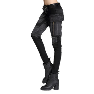 Black Pencil Pants for Women / Rock Style Loose Harem Women's Pants