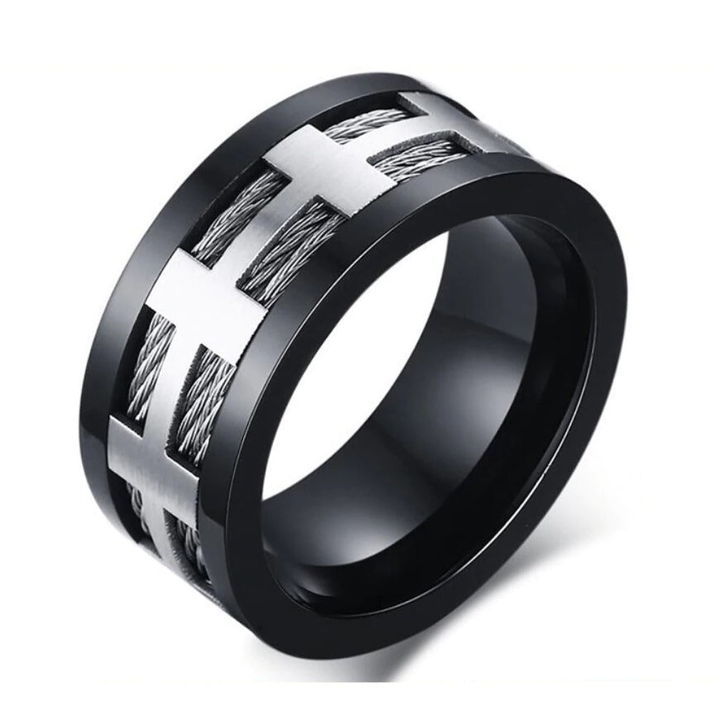 Black Plating 316L Stainless Steel Ring / Matte Finish Punk Style Ring Jewelry - HARD'N'HEAVY