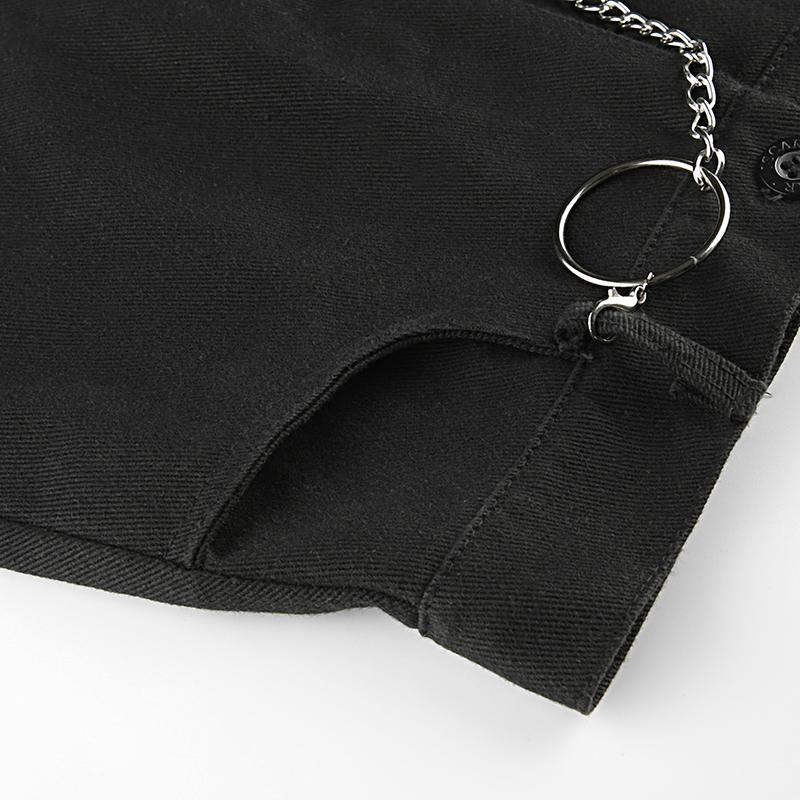 Rock Style Design / Black skirt with Ring Chain / High Waist Mini Skirts in Alternative Fashion - HARD'N'HEAVY