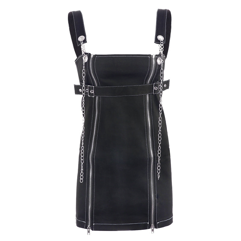 Black Punk Women Bodycon Dress / Streetwear Sexy Mini Dresses with Metal Chain and Belt Strap - HARD'N'HEAVY